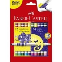 Hidrocor Faber Castell Bicolor 12 Canetas 24 Cores