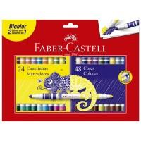 Hidrocor Faber Castell Bicolor 24 Canetas 48 Cores
