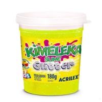 Kimeleka Slime Glitter Acrilex - Amarelo 180g