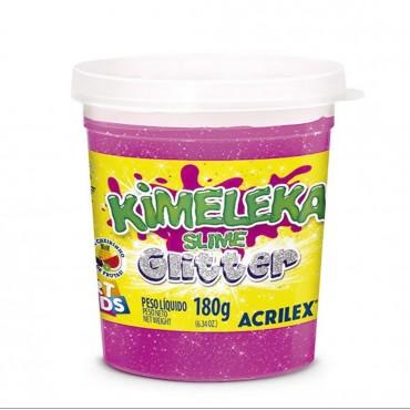Kimeleka Slime Glitter Acrilex - Rosa 180g