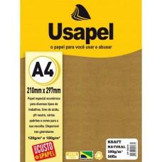 Papel Cartao Usapel Kraft Liso A4 180g C/50F - Natural