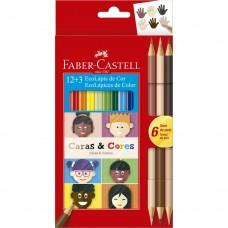 Lápis de Cor Faber Castell Caras & Cores C/12 + 6 Tons de Pele