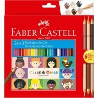 Lápis de Cor Faber Castell Caras & Cores C/24 + 6 Tons de Pele