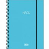 Caderno Universitário Capa Plástica 01 Matéria 80 Folhas Neon Azul
