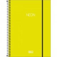 Caderno Universitário Capa Plástica 01 Matéria 80 Folhas Neon Verde Limão
