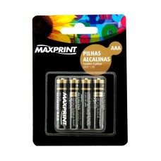 Pilha Alcalina Maxprint Palito AAA c/4