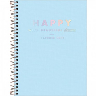 Planner Espiral Grande Happy Azul 2021