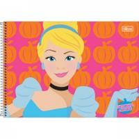 Caderno Desenho Espiral Capa Dura Princesas 80 Folhas A