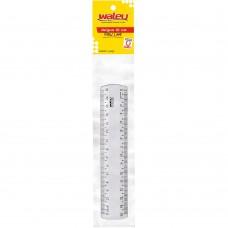 Régua Plástica Cristal Waleu 15 cm