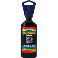 Tinta Dimensional 3D Brilliant 35ml Acrilex – Preto