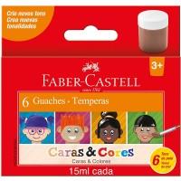 Tinta Guache Faber Castell Caras & Cores C/6 Tons de Pele 15 ml