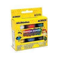 Tinta Guache Acrilex Fantasia Glitter 15ml C/ 6 Cores