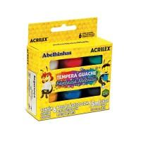 Tinta Guache Acrilex Fantasia Metallic 15ml C/ 6 Cores