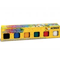 Tinta Guache Acrilex Multiuso Poster Colors 30ml C/ 6 Cores