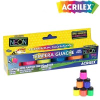 Tinta Guache Acrilex Neon  15ml C/ 6 Cores