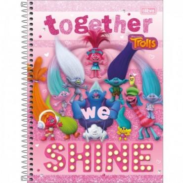 Caderno Universitário Capa Dura 12 Matérias 192 Folhas Trolls B