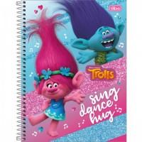 Caderno Universitário Capa Dura 12 Matérias 192 Folhas Trolls D